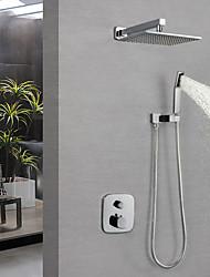 Недорогие -Смеситель для душа - Современный Хром На стену Медный клапан Bath Shower Mixer Taps / Латунь / Одной ручкой три отверстия