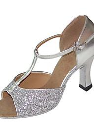 baratos -Mulheres Sapatos de Dança Latina Cetim Sandália / Salto Salto Carretel Personalizável Sapatos de Dança Prata / Roxo / Vermelho