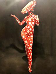 economico -Dancewear esotico Tute da sera / Costume da Club Per donna Prestazioni Elastene Con ruche Manica lunga Calzamaglia / Pigiama intero