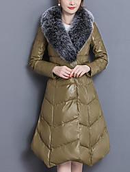 baratos -Mulheres Jaquetas de Couro Moda de Rua / Sofisticado - Sólido / Listrado Patchwork