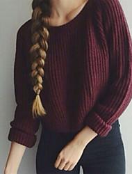 povoljno -Žene Dnevno Osnovni Jednobojni Dugih rukava Regularna Pullover, V izrez Jesen / Zima Pamuk Crn / Sive boje / Lila-roza XL / XXL / XXXL