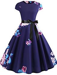baratos -Mulheres Vintage / Elegante Algodão Delgado Calças - Floral Azul / Para Noite
