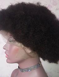 economico -capelli naturali Remy Lace frontale Parrucca Brasiliano Afro Kinky Parrucca Taglio medio corto Taglio scalato Parte di mezzo 130% Densità dei capelli con i capelli del bambino Attaccatura dei capelli