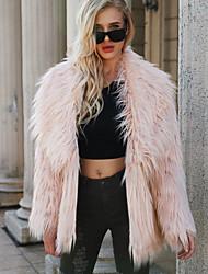 abordables -Manteau en Fourrure Femme - Couleur Pleine Sophistiqué