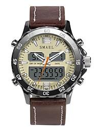 Недорогие -SMAEL Муж. Спортивные часы электронные часы Японский Цифровой Натуральная кожа Черный / Коричневый 50 m Защита от влаги Календарь Секундомер Аналого-цифровые Мода - Черный Коричневый
