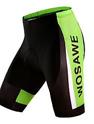 baratos -WOSAWE Unisexo Bermudas Acolchoadas Para Ciclismo Moto Shorts / Shorts Acolchoados / Calças Respirável, Tapete 3D, Secagem Rápida Sólido Poliéster, Silicone Verde Avançado Ciclismo de Montanha