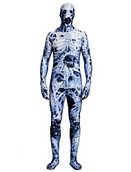 cheap -Zentai Suits / Patterned Zentai Suits / Cosplay Costume Zombie Zentai Cosplay Costumes Blue Printing Spandex Lycra / Elastic Unisex Halloween / Carnival / Masquerade