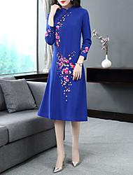 Недорогие -Жен. Винтаж / Классический А-силуэт Платье - Цветочный принт, Вышивка Средней длины