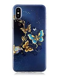 Недорогие -Кейс для Назначение Apple iPhone X / iPhone 8 Pluss / iPhone 8 С узором Кейс на заднюю панель Бабочка Мягкий ТПУ