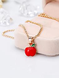 Недорогие -Жен. Ожерелья с подвесками Одинарная цепочка Apple Стиль европейский Сплав Красный 42+5 cm Ожерелье Бижутерия 1шт Назначение Рождество Повседневные