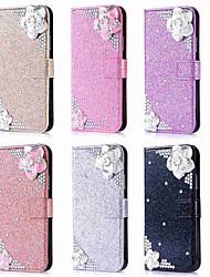 billiga -fodral Till Apple iPhone XR / iPhone XS Max Plånbok / Korthållare / Strass Fodral Glittrig / Bergkristall / Blomma Hårt PU läder för iPhone XS / iPhone XR / iPhone XS Max