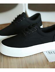 abordables -Femme Chaussures de confort Toile Printemps Basket Talon Plat Blanc / Noir