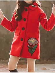 Недорогие -Дети Девочки Классический / Уличный стиль Повседневные / На выход С принтом Вышивка / С принтом Длинный рукав Обычная Хлопок / Полиэстер Куртка / пальто Красный