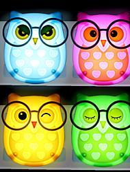 Недорогие -BRELONG® 1шт Сова LED Night Light Красный / Синий / Желтый От электросети Мультипликация / Управление освещением / прикроватный 85-265 V
