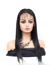Недорогие -Необработанные натуральные волосы Лента спереди Парик Средняя часть стиль Бразильские волосы Естественный прямой Парик 130% Плотность волос / Природные волосы / с детскими волосами / Природные волосы