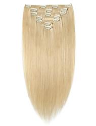 billiga -Vinsteen Klämma in Människohår förlängningar Rak Blond Obehandlad hår Remy-hår Brasilianskt hår 1 st. Bästa kvalitet 100% Jungfru Dam - Blekt Blont