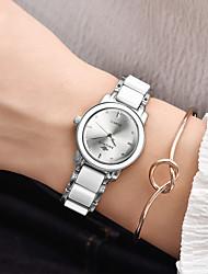 Недорогие -Жен. Наручные часы Японский Японский кварц 30 m Защита от влаги сплав Керамика Группа Аналого-цифровые Мода Элегантный стиль Белый / Серебристый металл - Белый Два года Срок службы батареи