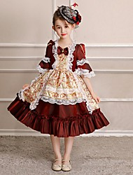 cheap -Princess Cosplay Lolita / Rococo Costume Girls' Party Costume / Masquerade / Costume Red and White Vintage Cosplay Polyster Half Sleeve Tea Length Halloween Costumes