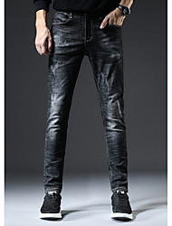 Недорогие -мужские хлопковые тощие / тонкие джинсовые брюки - сплошной цвет