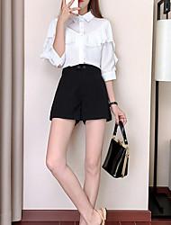 economico -Per donna Essenziale Camicia - Con balze / Collage, Tinta unita / Monocolore Pantalone