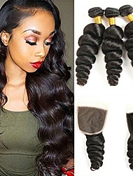 Недорогие -3 комплекта с закрытием Индийские волосы Вьетнамские волосы Свободные волны 8A Натуральные волосы Необработанные натуральные волосы Подарки Человека ткет Волосы Сувениры для чаепития 8-20 дюймовый