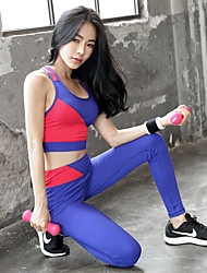 cheap -Women's Patchwork 2pcs Yoga Suit - Black, Blue Sports Color Block Spandex, Mesh Bra Top / Skinny Pants Dance, Running, Fitness Activewear 3D Pad, Breathable, Butt Lift Stretchy Skinny
