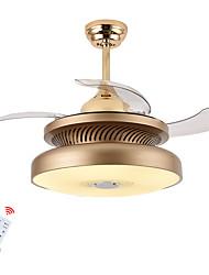 baratos -ZHISHU Mini / Novidades Ventilador de teto Luz Descendente Acabamentos Pintados Metal Controle de Bluetooth 220-240V Branco quente + branco Fonte de luz LED incluída / Led Integrado