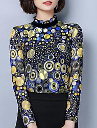Недорогие -Жен. Блуза Воротник-стойка Геометрический принт