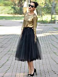 baratos -Mulheres Boho / Moda de Rua Evasê / Balanço Saias - Sólido Preto e Vermelho