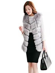 baratos -mulheres mais tamanho casaco de pele de peles artificiais - cor sólida