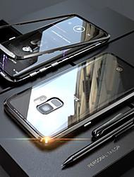 billiga -fodral Till Samsung Galaxy S9 / S8 Genomskinlig / Magnet Fodral Enfärgad Hårt Härdat glas / Metall för S9 / S9 Plus / S8 Plus