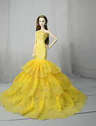 Недорогие -Платья Платье Для Кукла Барби Желтый Тюль / Кружево / Шелково-шерстяная ткань Платье Для Девичий игрушки куклы
