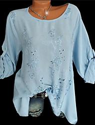Недорогие -Жен. Вышивка Рубашка Однотонный / Цветочный принт