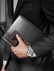 billige -Etui Til Samsung Galaxy Note 9 Kortholder / Ultratyndt / Wireless Charging Receiver Case Bagcover Ensfarvet Hårdt PU Læder / TPU / PC for Note 9