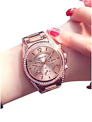 Недорогие -Жен. Наручные часы Кварцевый 30 m Творчество Повседневные часы Нержавеющая сталь Группа Аналоговый Мода Элегантный стиль Серебристый металл / Золотистый / Розовое золото -