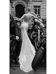 billige -Havfrue Spaghettistropper Kapelslæb Blondelukning / Tyl Made-To-Measure Brudekjoler med Blonde ved LAN TING BRIDE®