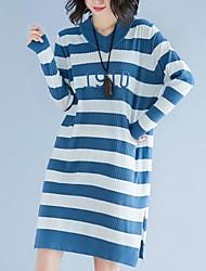 Недорогие -женский выход свободный свитер / оболочка платье midi v шея