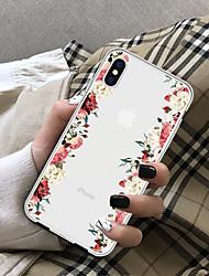 Недорогие -Кейс для Назначение Apple iPhone X / iPhone 8 Plus Прозрачный Кейс на заднюю панель Цветы Мягкий ТПУ для iPhone X / iPhone 8 Pluss / iPhone 8