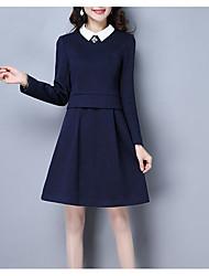 billige -kvinders slanke linje kjole høj talje knælange skjorte krave