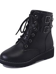 Недорогие -Жен. Армейские ботинки Полиуретан Осень На каждый день Ботинки На плоской подошве Круглый носок Сапоги до середины икры Черный
