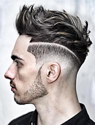 Недорогие -Муж. Натуральные волосы Накладки для мужчин Прямой 100% ручная работа / Лента спереди Мягкость