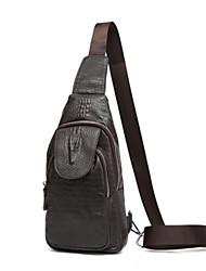 Недорогие -мужские сумки наппа кожаный ремень сумка на молнии черный / кофе