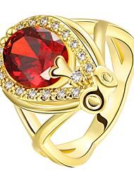 abordables -Femme Rouge Rubis Classique Bague - Or 18 Carats Goutte Mode 7 / 8 Or / Or Rose Pour Soirée Quotidien