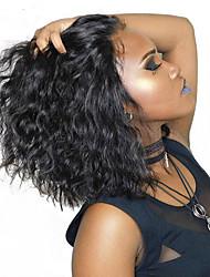 Недорогие -Не подвергавшиеся окрашиванию Лента спереди Парик Стрижка боб Короткий Боб стиль Бразильские волосы Loose Curl Нейтральный Парик 180% Плотность волос с детскими волосами Горячая распродажа Толстые