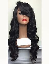 Недорогие -человеческие волосы Remy Необработанные натуральные волосы Полностью ленточные Парик Бразильские волосы Естественные кудри Черный Парик Стрижка каскад Боковая часть 130% Плотность волос