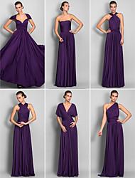 baratos -Linha A Longo Microfibra Jersey Vestido de Madrinha com Cruzado / Pregas de LAN TING BRIDE® / Vestido Convertível