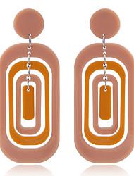 Недорогие -Жен. Геометрический принт Серьги-слезки - Резина Простой, европейский, Мода Черный / Оранжевый / Розовый Назначение Для вечеринок Повседневные