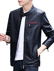 baratos -jaqueta de couro do plutônio dos homens - letra / suporte colorido contínuo