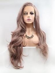Недорогие -Синтетические кружевные передние парики Жен. Естественные кудри Розовый Боковая часть 130% Человека Плотность волос Искусственные волосы 20-26 дюймовый Женский Розовый Парик Длинные Лента спереди