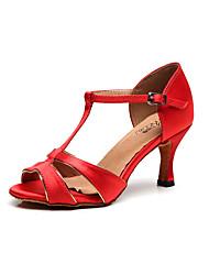 olcso -Női Latin cipők Selyem Szandál Slim High Heel Személyre szabható Dance Shoes Fekete / Piros